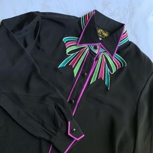 Bob Mackie 100% Silk Blouse Embroidered Bow Tie